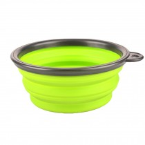 Silicone Pet Dog Foldable Food&Water Travel Bowl Dish Feeder, Green(13*9*5cm)