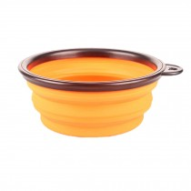 Silicone Pet Dog Foldable Food&Water Travel Bowl Dish Feeder, Orange(13*9*5cm)
