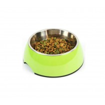 Pet Bowl / Dog bowl with Stainless Steel Eating Surface Apple Green, Small