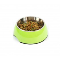 Pet Bowl / Dog bowl with Stainless Steel Eating Surface Apple Green, Large