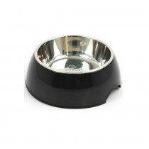 Pet Bowl / Dog bowl with Stainless Steel Eating Surface Black, Medium
