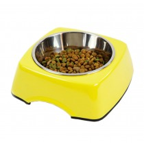Pet Bowl Dogs/Cats Bowl with Stainless Steel Eating Surface Yellow, Medium
