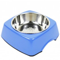Pet Bowl Dogs/Cats Bowl with Stainless Steel Eating Surface Blue, Large