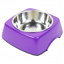Pet Bowl Dogs/Cats Bowl with Stainless Steel Eating Surface Purple, Large