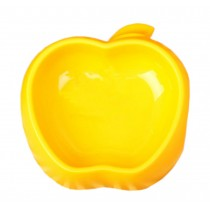 Apple Shaped Pet Bowl Dogs Bowl Pet Supplies YELLOW(7.5 * 2 Inches)