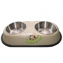 Double Stainless Steel Bowls for Pets Dogs Cats White(34.5*18.8*4.5cm)
