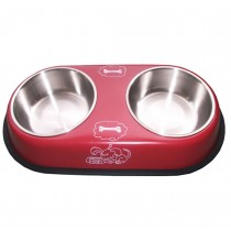 Double Stainless Steel Bowls for Pets Dogs Cats RED (38.6*20.8*5.0 cm)