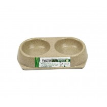 Bamboo Fiber Round Double Style Pet Bowl for Dogs Cats