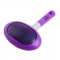Long handle Stainless Steel Soft Dog Brush Cat brush With a Comb (Purple)