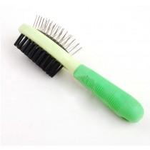 Double-Sided Plastic Handle Massage Comb Pet Dog Brush Cat Brush (Green)