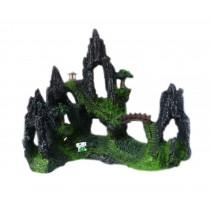 Resin Rockery Gloriette Aquarium Ornament, 16x16x9cm
