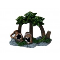 Resin Coconut Palm Pots Aquarium Ornament, 21x9x17cm