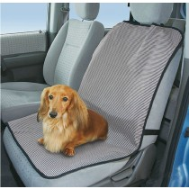 """Striped Single Seat Dog Car Seat Cover Light Gray- One Size Fit Most: 24""""Wx39""""H"""