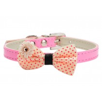 Pretty Adjustable PU Bow-ties Dog Collar Pet Collar PINK (20-26cm)