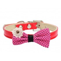 Pretty Adjustable PU Bow-ties Dog Collar Pet Collar RED (20-26cm)