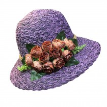 Folding Straw Hat Stylish Bucket Hat Retro Style Rose Summer Holiday Beach Cap