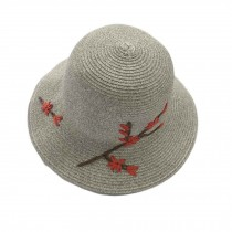 Women Summer Flower Folding Straw Hat Bucket Hat Retro Style Beach Cap