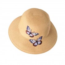 Foldable Summer Straw Hat Butterfly Embroidery Beach Cap Holiday Travel Beach