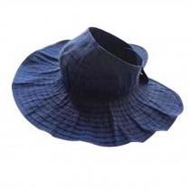 Blue Sun Hat For Holiday Travel Fashion Sun Visor Cap Folding Summer Beach Cap