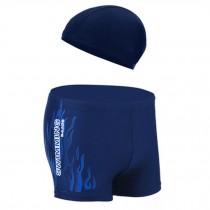 Mens Swim Trunk Shorts Swimwear Boxer Briefs(Trunk+Cap),Blue XXL