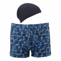 Mens Swim Trunk Shorts Swimwear Boxer Briefs(Trunk+Cap),Blue XXXL