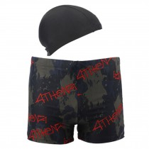 Mens Swim Trunk Shorts Swimwear Boxer Briefs(Trunk+Cap),Black XXXL