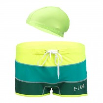 Mens Swim Trunk Shorts Swimwear Boxer Briefs(Trunk+Cap),Green XXXXL