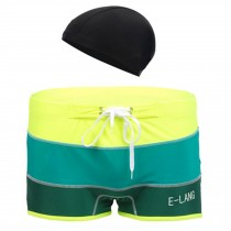 Mens Swim Trunk Shorts Swimwear Boxer Briefs(Trunk+Cap),Green XXXL